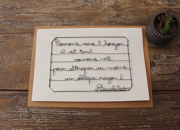 """COURONS VERS..."" Carte en fil de fer by AGAPI"