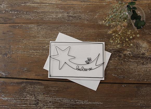 """""""BELIEVE IN YOUR LUCKY STAR"""" Carte en fil de fer by AGAPI"""