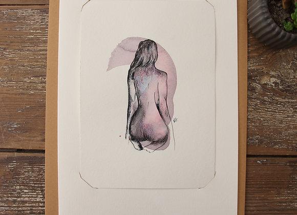 """""""NU  12""""Dessin aquarelle et pierre noire by VERONIQUE GRAVIER"""