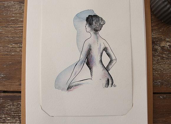"""""""NU 15"""" Dessin à l'aquarelle et pierre noire by VERONIQUE GRAVIER"""
