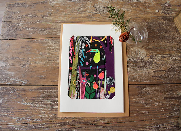 """TOUCAN FLUO"" Collage sur papier by SIDO"