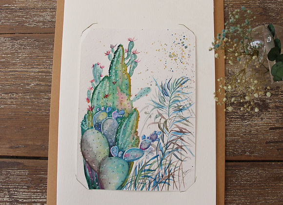 """CACTUS JARDIN 3"" Aquarelle by DOMINIQUE MASSINI"