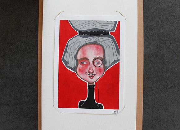 """""""VICTORIA""""Peinture, collage et feutre by YAI"""