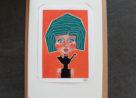 """""""KATIA""""Peinture, collage et feutre by YAI"""