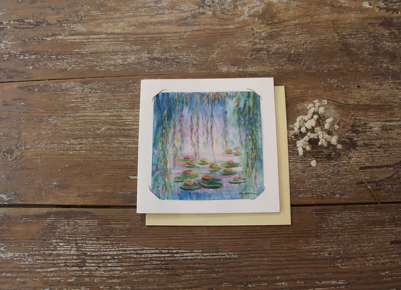 """NYMPHEAS BLEU VERT"" Aquarelle by DOMINIQUE MASSINI"