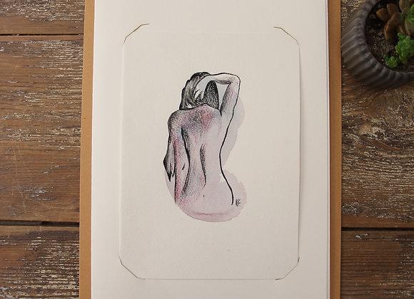 """""""NU 13"""" Dessin à l'aquarelle et pierre noire by VERONIQUE GRAVIER"""