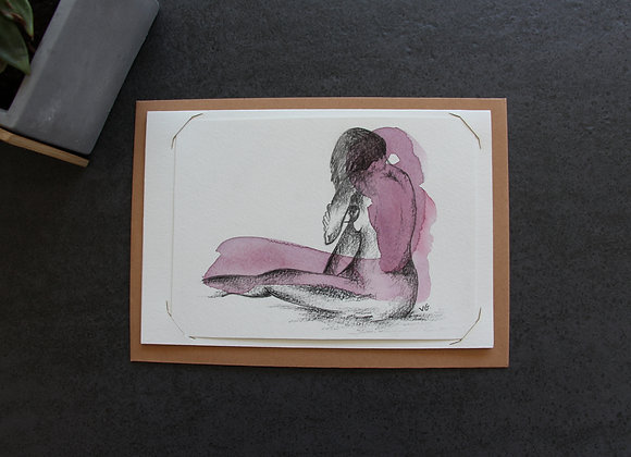 """""""NU 5 """"Dessin pierre noire et aquarelle by VÉRONIQUE GRAVIER"""
