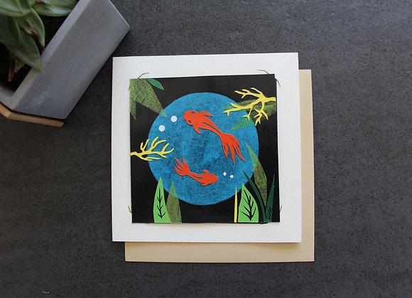 """""""LES POISSONS ROUGES"""" Collage sur papier by SIDO"""