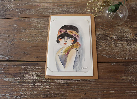 """RETRO LADY"" Aquarelle et feutre by IRINCHE"