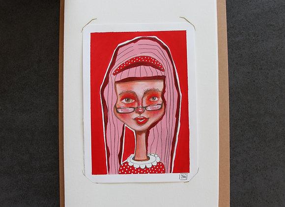 """""""EMILIE""""Peinture, collage et feutre by YAI"""