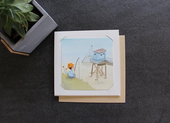 """""""ALPHONSE A LA PÊCHE"""" Aquarelle by MARJOLINE FLEUR"""