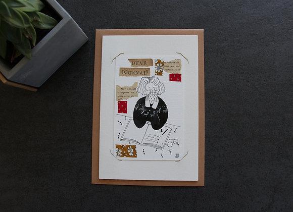 """""""DEAR JOURNAL"""" Dessin à l'encre et collage by JULIE DE TERSSAC"""