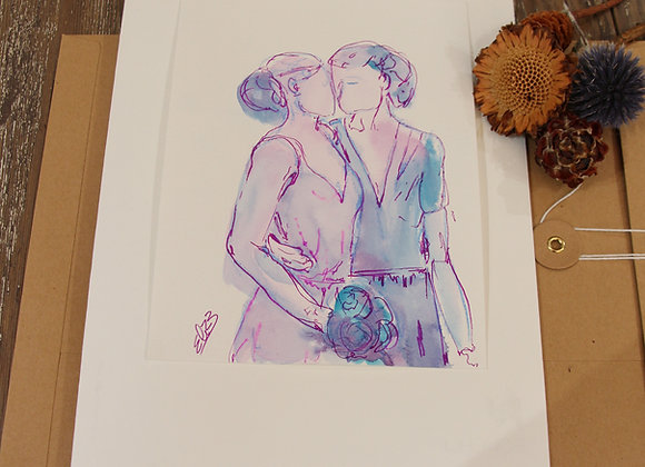 """""""VIVE LES MARIÉES"""" Encre et crayon sur papier by ELIZE"""