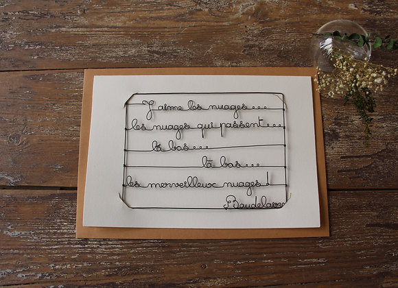 """BAUDELAIRE"" Carte en fil de fer by AGAPI"