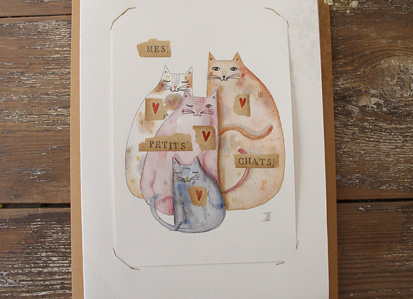"""""""MES PETITS CHATS""""Aquarelle et collage by JULIE DE TERSSAC"""
