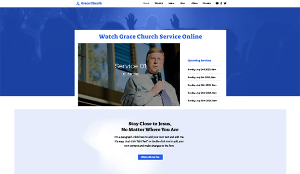 Religión y ONG website templates – Online Church