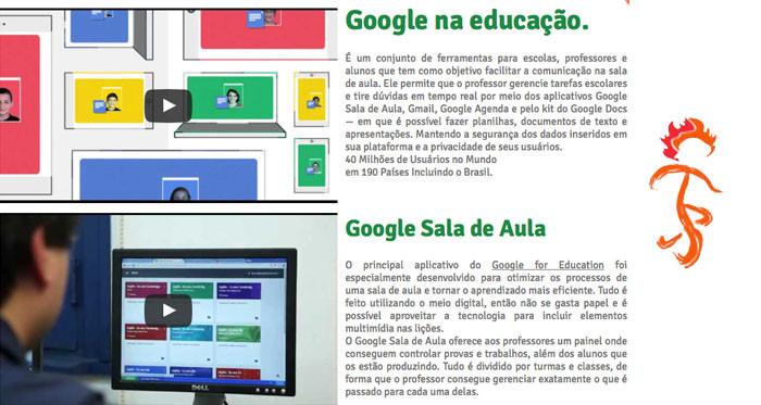 Google na educação Colegio Curupira