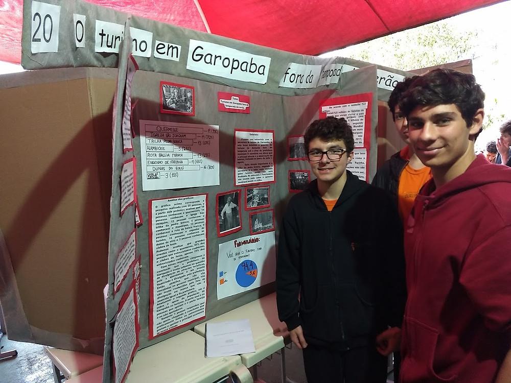 Alunos na feira de ciencias no Colegio Curupira Garopaba SC