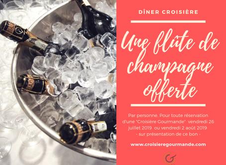 Champagne offert pour votre dîner croisière le vendredi