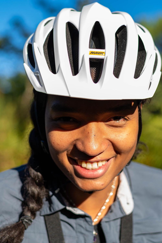 Photo casque vélo blanc