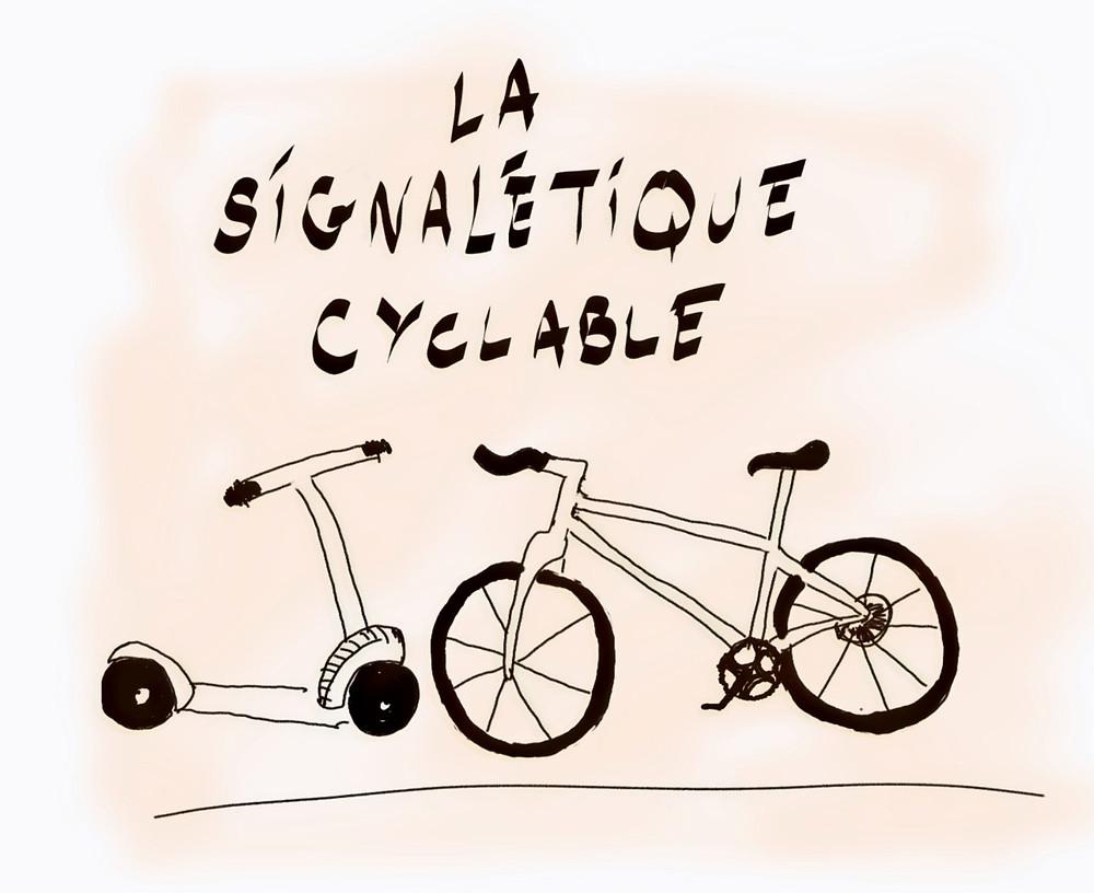 Dessin, un vélo et une trotinette face à face avec au-dessus le titre suivant, la signalétique cyclable, sur fond orange