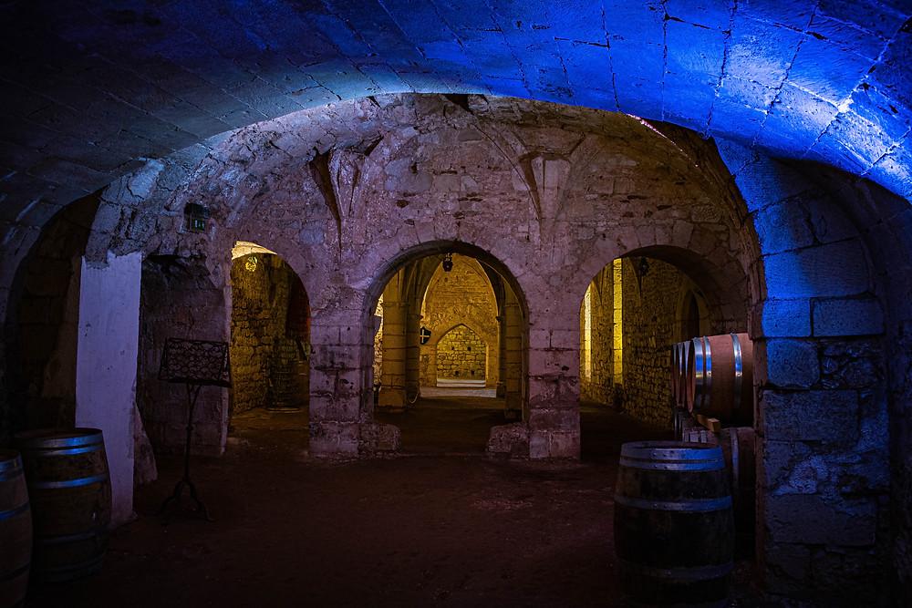 Photo de la cave du Château Montreuil-Bellay, éclairé faiblement par une lumière bleu, quelques vieux tonneaux de vin sont présents