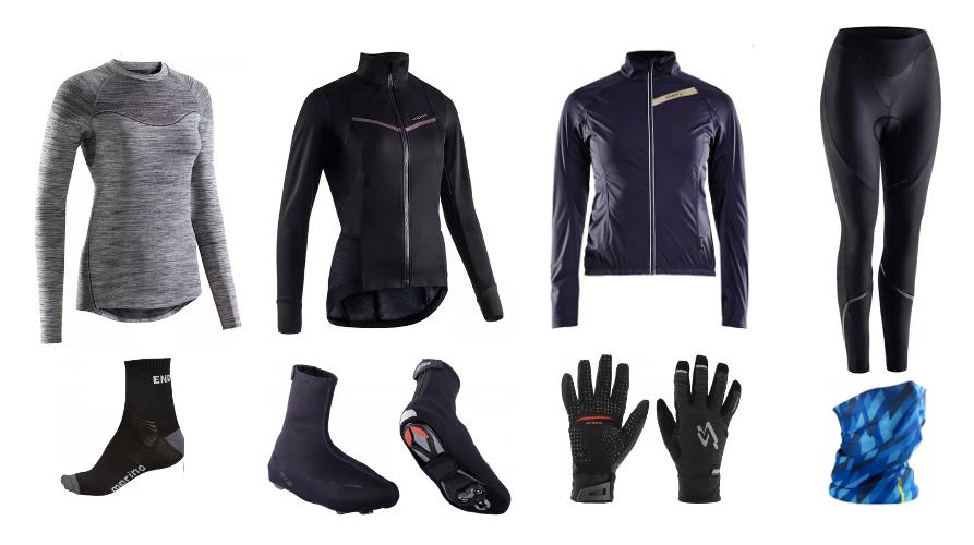 Un ensemble de textiles et accesoires pour rouler à vélo en hiver, sous-couche, veste chaudes, impermeable respirant, collant long et chaud, chaussette en laine mérinos, sur-chaussures, gant chaud et tour de cou