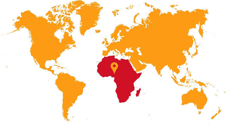 A world map showing the location of Cameroon, where Children of Cameroon works.