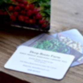 Lookie what just arrived in the mail! Deep Roots has new business cards and I must say I am very ple