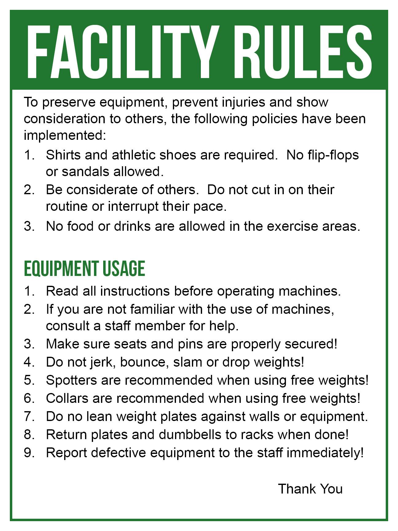 Facility Rules