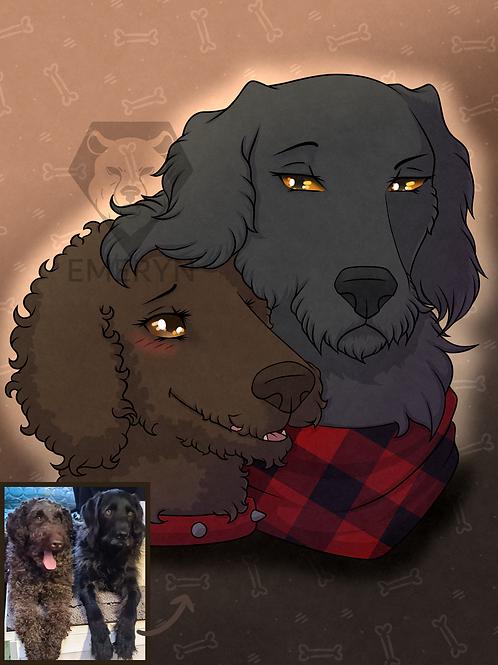 Pet Portrait Headshot (2 pets)
