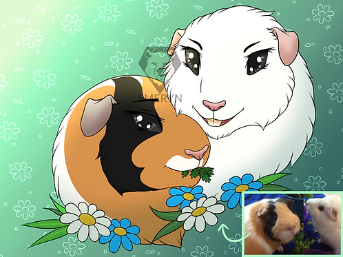 Pet Portrait Fullbody (2 pets)