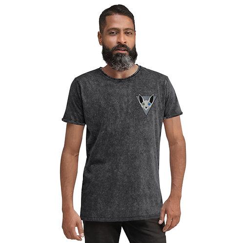 Sphinx Cat Emblem Denim T-Shirt