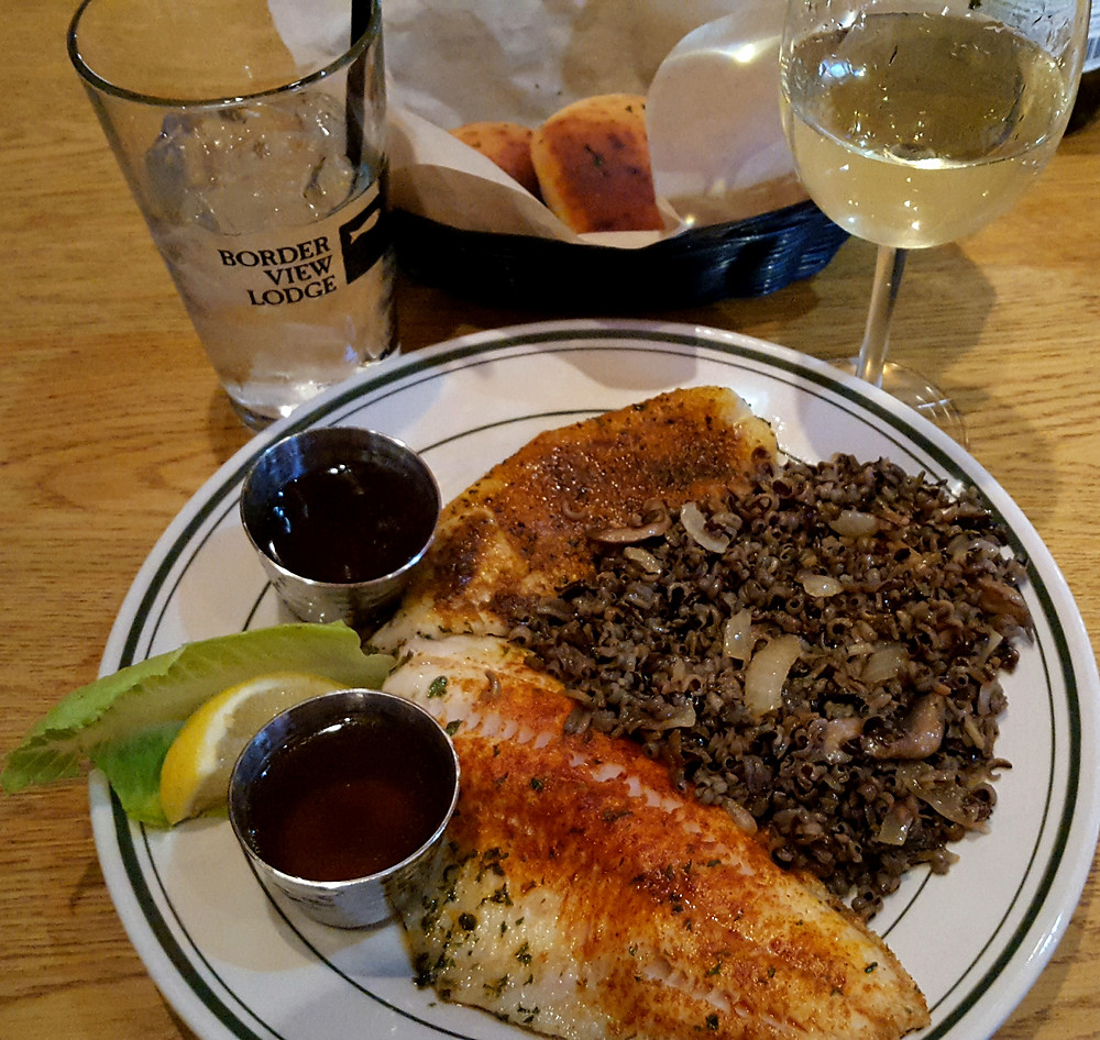 Lake of the Woods Minnesota Grilled walleye and wild rice - so good!