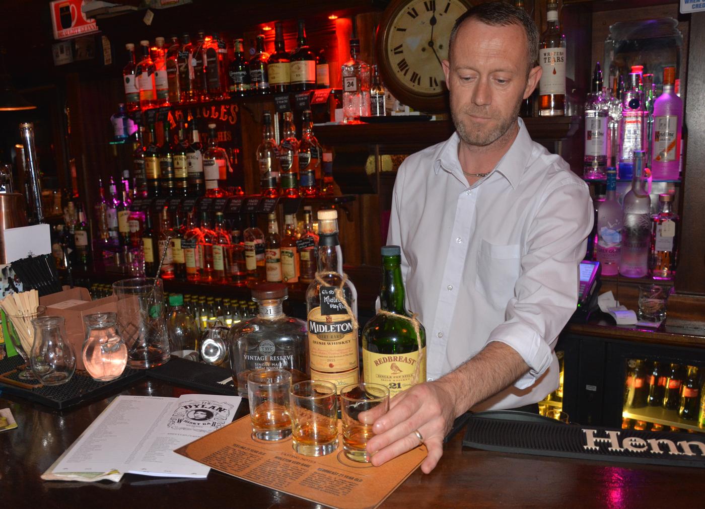 A flight of top shelf whiskey