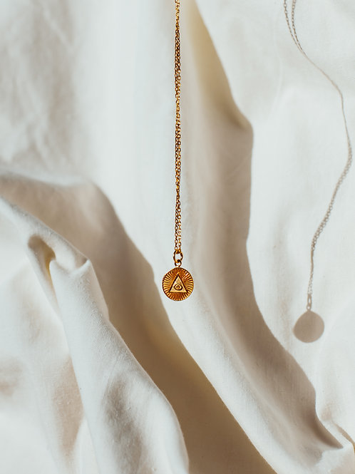 PYRAMID Coin Necklace 925 gold plated