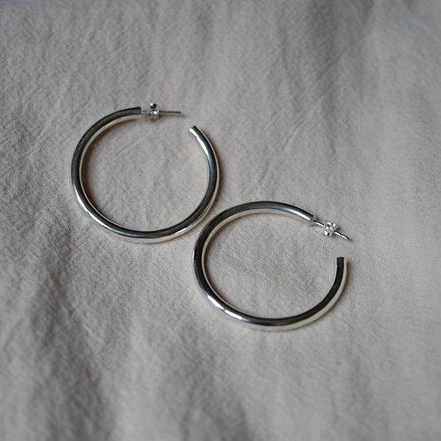 big chunky hoops (L) 40mm 925 Silver