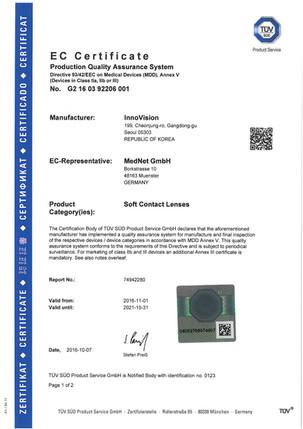 EC Certificate issued by TÜV SÜD