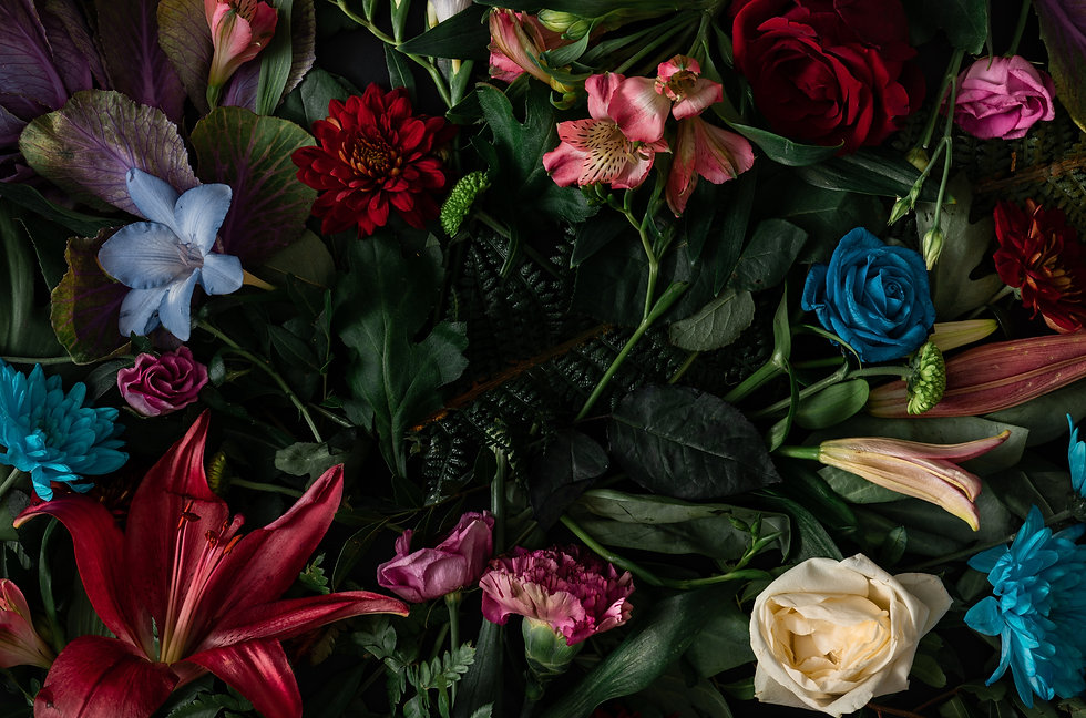 Creative layout made of flowers and leav
