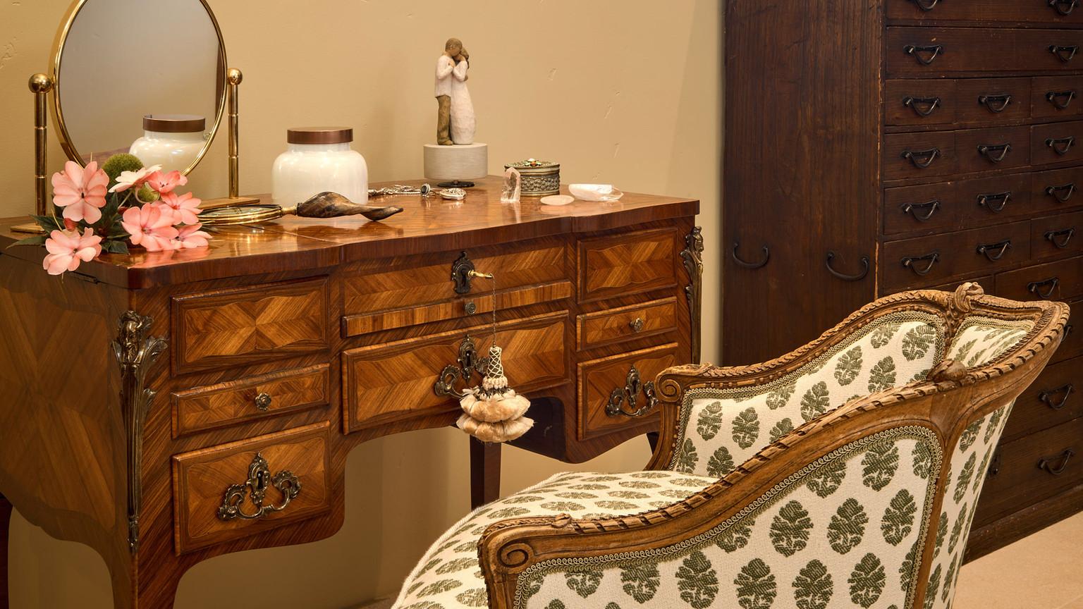 bedroom makeup area with green adn cream custom upholstered furniture.jpg