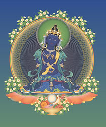 Vajradhara 3 with offerings and backgrou