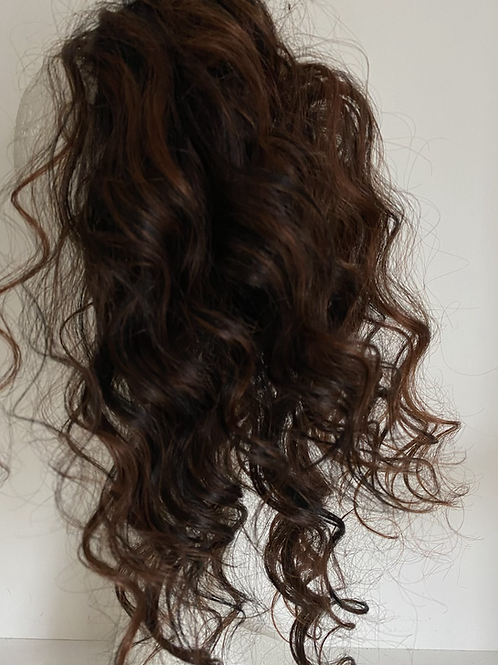 Black with copper highlights human hair blend 14inches very curly