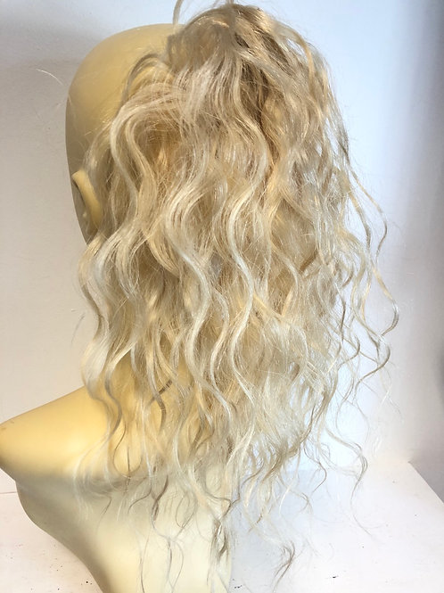 Very blonde 24/613 wavy human hair ponytail 14 inches 38g