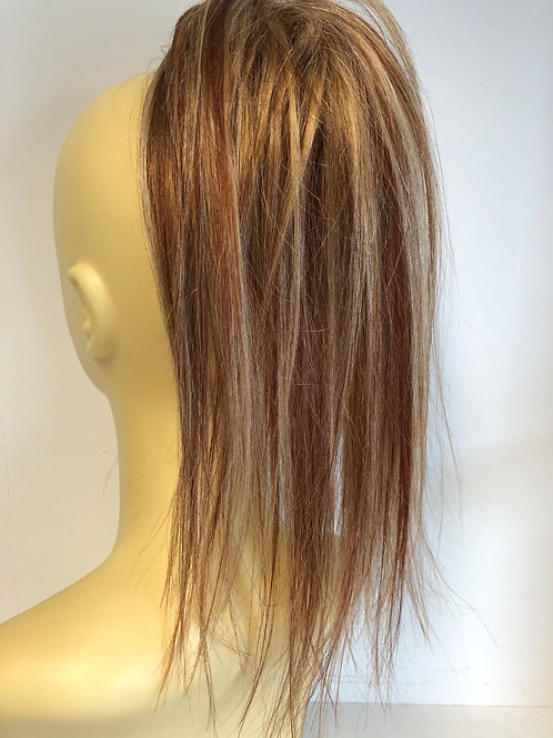 Golden blonde (27/33/613) 12 inches long human hair ponytail Scrunchie