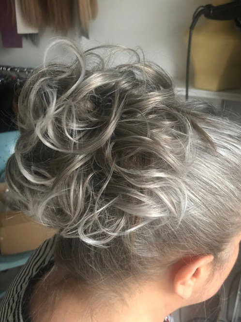 Mixed silver grey  synthetic curly hairpiece Scrunchie