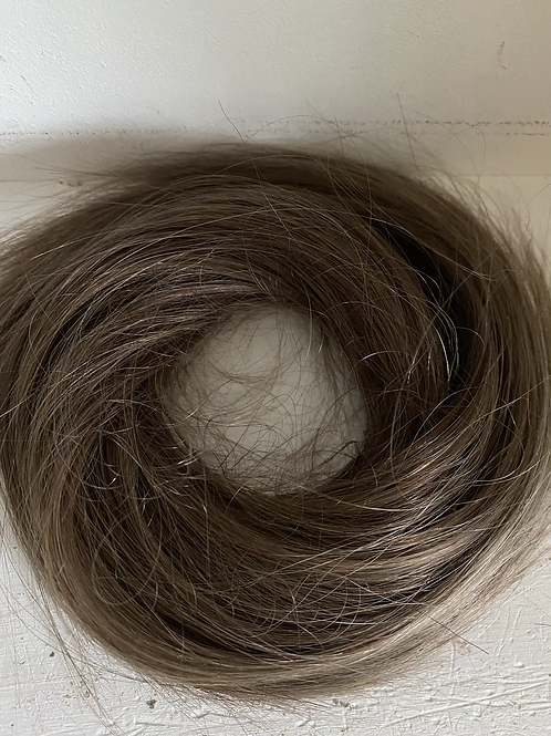 Mousey brown (9) loose body  hair scrunchie blend human hair mix synthetic