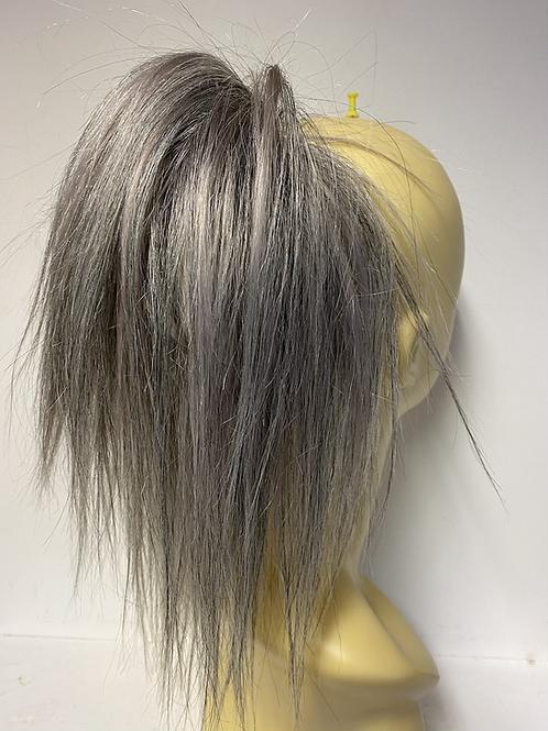 Salt and  peper human hair Scrunchie 8-10 inches