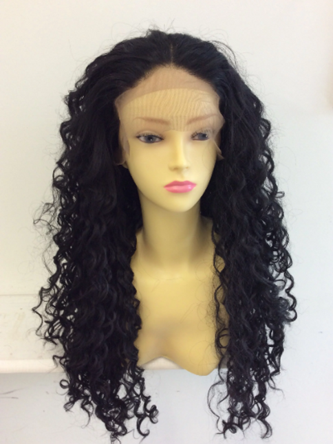 long deep curl black synthetic wig with lace front (24)