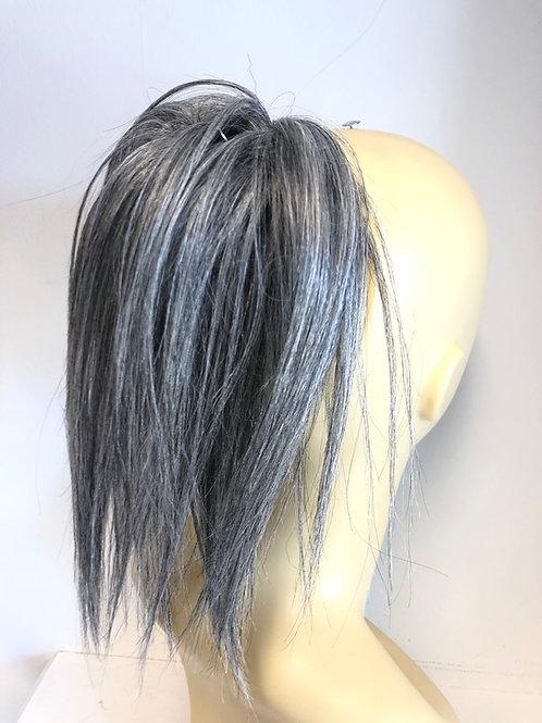 Light salt n peper human hair Scrunchie 8-10 inches