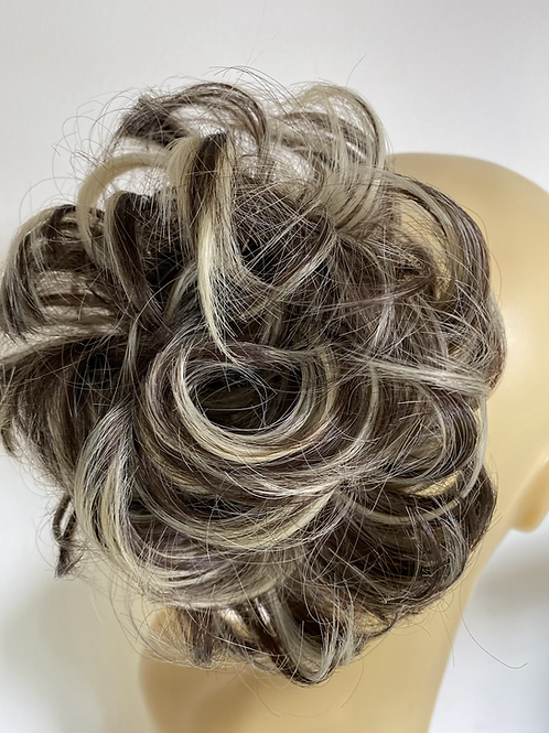 Brown with bleached highlights synthetic hairpiece Scrunchie